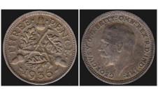 Георг V. 3 пенса 1936г.