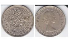 Елизавета II. 6 пенсов 1954г