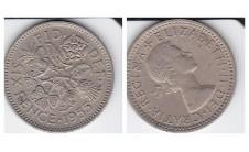 Елизавета II. 6 пенсов 1955г.