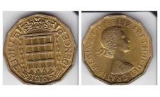 Елизавета II.  3 пенса 1965г.