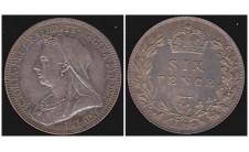 Виктория. Шесть пенсов 1893г.