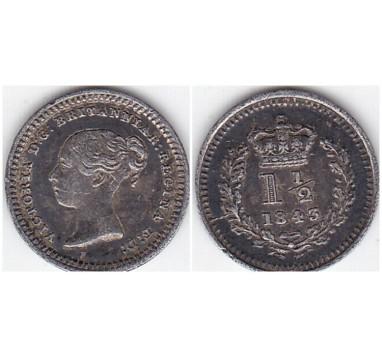 Виктория 1,5 пенса 1843г.