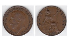 1922г. 1/2 пенни