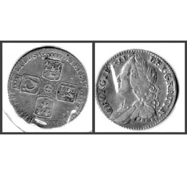 Георг II.  6 пенсов 1757г.