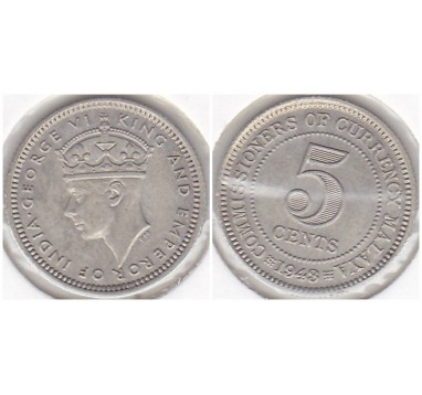 Малайя 5 центов 1943г.